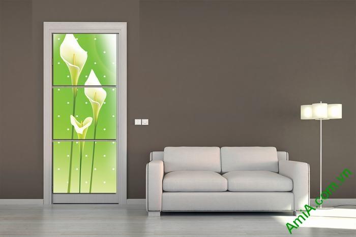 Tranh ốp tường trang trí phòng khách hoa Zum trắng Amia 518-01