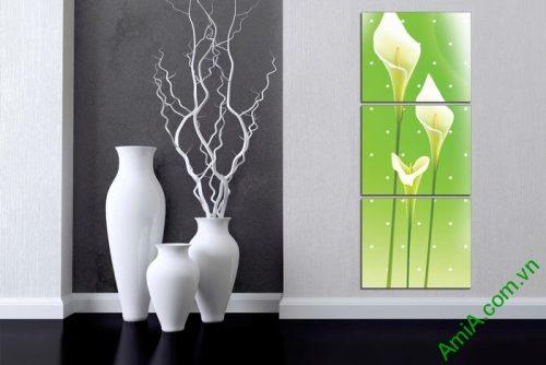 Tranh ốp tường trang trí phòng khách hoa Zum trắng Amia 518