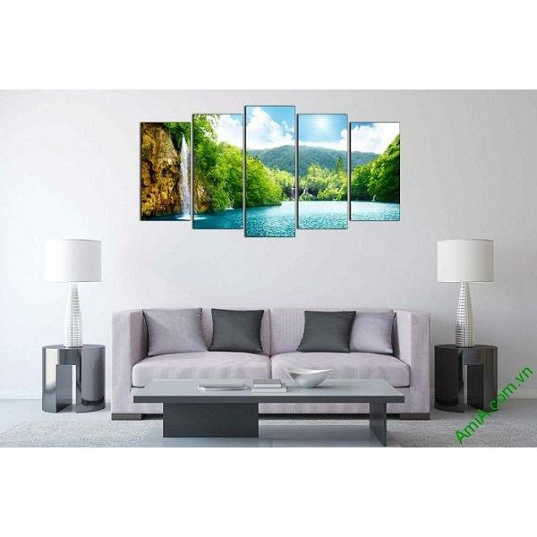 Tranh phong cảnh đẹp khổ lớn trang trí phòng khách Amia 486-00