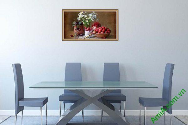 Tranh trang trí bàn ăn hiện đại hoa quả trái cây AmiA 580-01