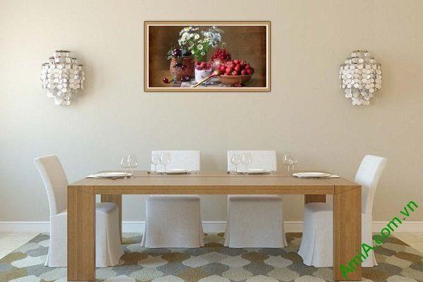 Tranh trang trí bàn ăn hiện đại hoa quả trái cây AmiA 580-02