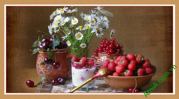 Tranh trang trí bàn ăn hiện đại hoa quả trái cây AmiA 580
