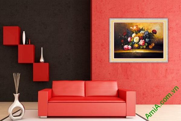 Tranh trang trí bình hoa bốn mùa in giả sơn dầu Amia 572-01