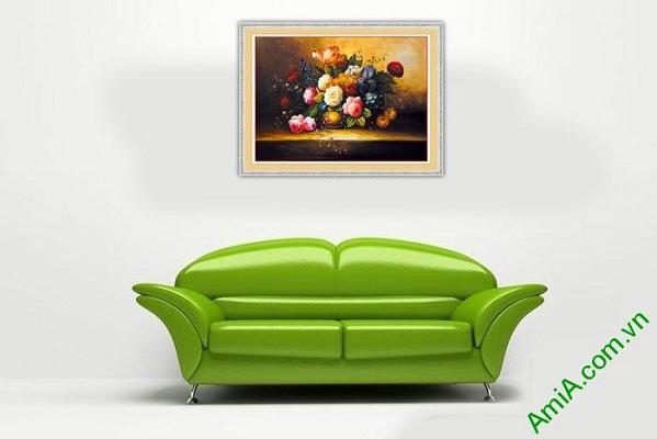 Tranh trang trí bình hoa bốn mùa in giả sơn dầu Amia 572-02