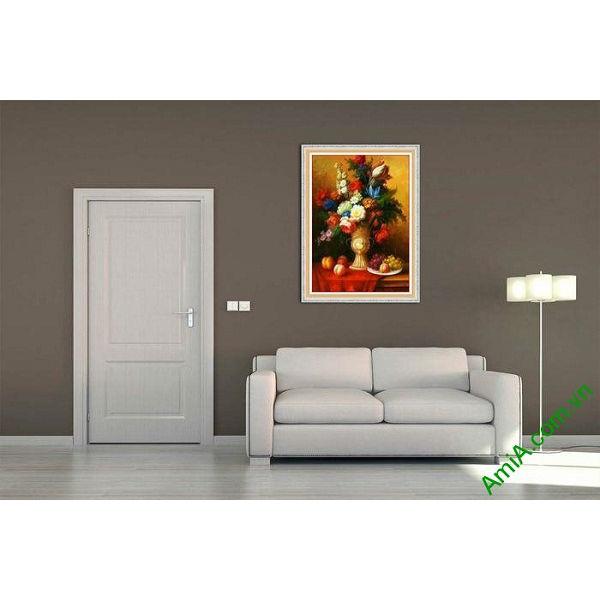 Tranh trang trí bình hoa bốn mùa phong cách vintage-00