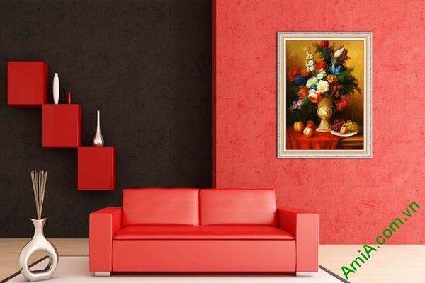 Tranh trang trí bình hoa bốn mùa phong cách vintage-02