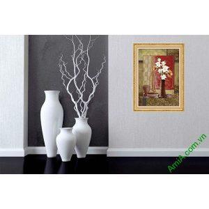 Tranh trang trí bình hoa ly in giả sơn dầu AmiA 592-00