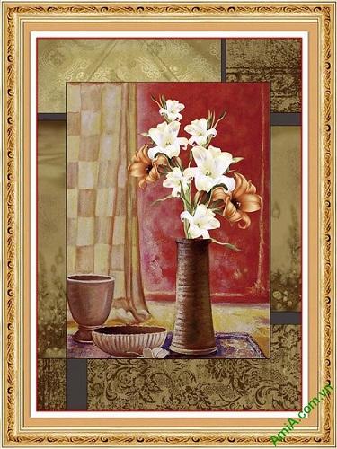 Tranh trang trí bình hoa ly in giả sơn dầu AmiA 592