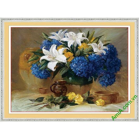 Tranh trang trí bình hoa nghệ thuật in giả sơn dầu Amia 567-00