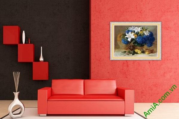 Tranh trang trí bình hoa nghệ thuật in giả sơn dầu Amia 567-02
