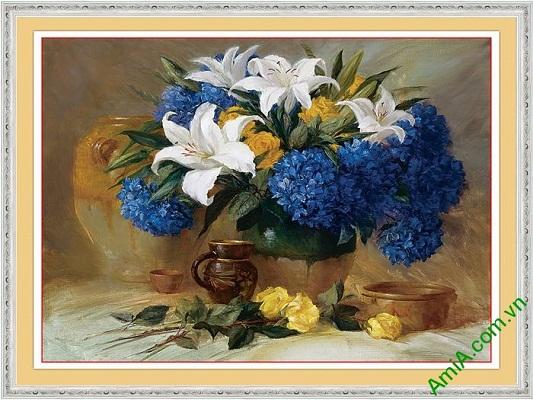 Tranh trang trí bình hoa nghệ thuật in giả sơn dầu Amia 567