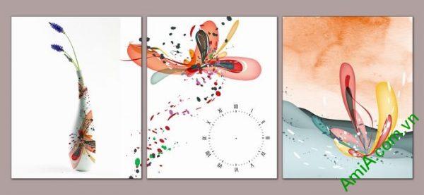 Tranh trang trí đồng hồ nghệ thuật Amia 504