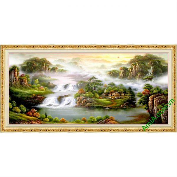 Tranh trang trí in giả sơn dầu tiên cảnh Amia 558-00