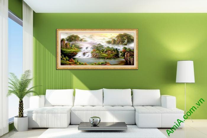 Tranh trang trí in giả sơn dầu tiên cảnh Amia 558-01