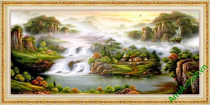 Tranh trang trí in giả sơn dầu tiên cảnh Amia 558