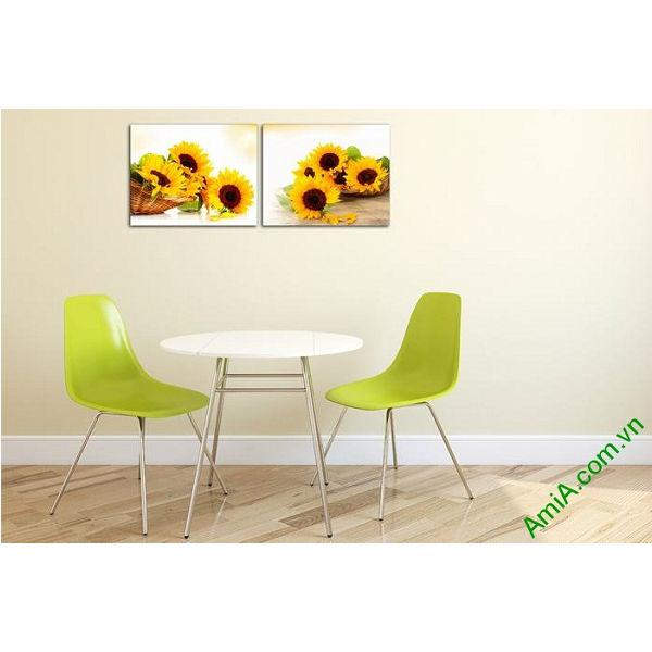 Tranh trang trí giỏ hoa hướng dương đối xứng Amia 524-00