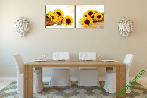 Tranh trang trí giỏ hoa hướng dương đối xứng Amia 524-02