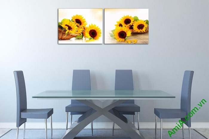 Tranh trang trí giỏ hoa hướng dương đối xứng Amia 524-03