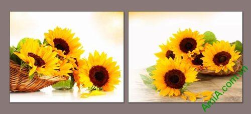 Tranh trang trí giỏ hoa hướng dương đối xứng Amia 524