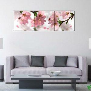 Tranh trang trí hiện đại hoa anh đào 3 tấm Amia 514-00