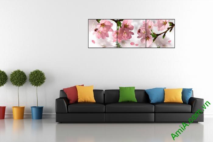 Tranh trang trí hiện đại hoa anh đào 3 tấm Amia 514-02
