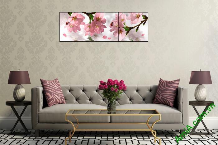 Tranh trang trí hiện đại hoa anh đào 3 tấm Amia 514-03