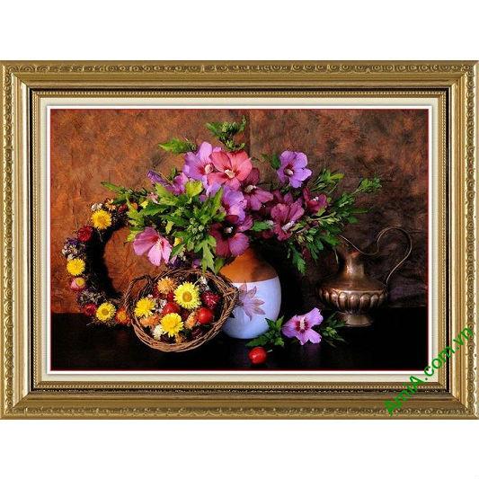 Tranh trang trí hoa lá mang phong cách retro cá tính Amia 566-00