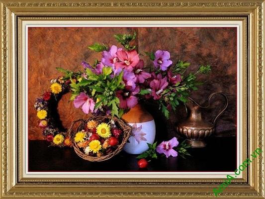 Tranh trang trí hoa lá mang phong cách retro cá tính Amia 566