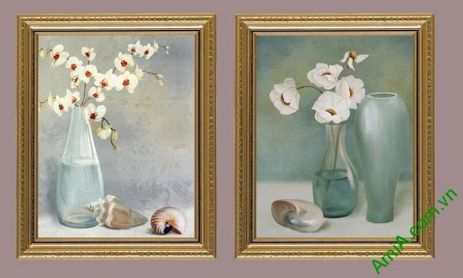 Tranh trang trí hoa lá phong cách cổ điển Amia 548