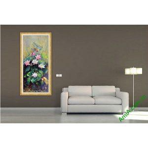 Tranh trang trí hoa Sen nghệ thuật vintage Amia 560-00