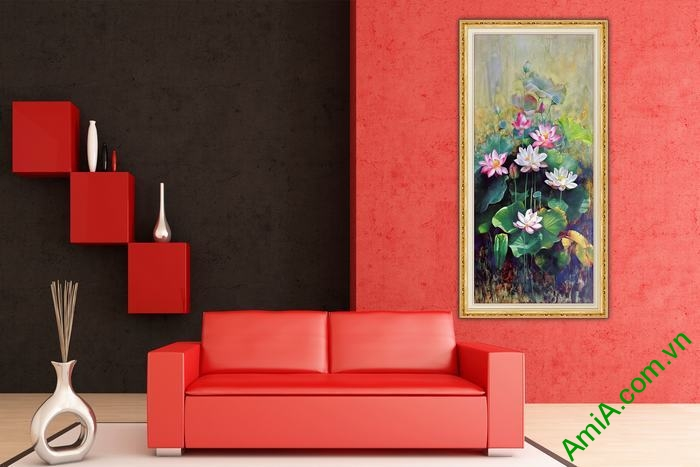 Tranh trang trí hoa Sen nghệ thuật vintage Amia 560-02