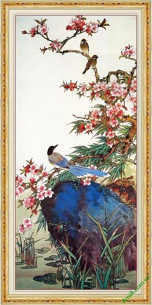 Tranh trang trí khổ dọc cành đào mùa Xuân Amia 559