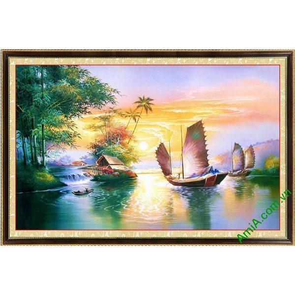 Tranh trang trí một tấm in giả sơn dầu Thuận buồm xuôi gió-00