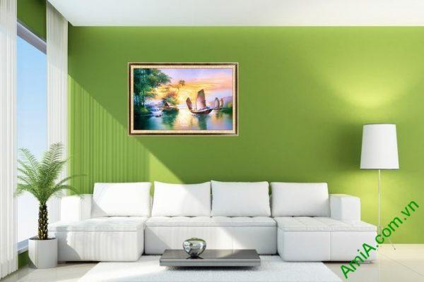 Tranh trang trí một tấm in giả sơn dầu Thuận buồm xuôi gió-01