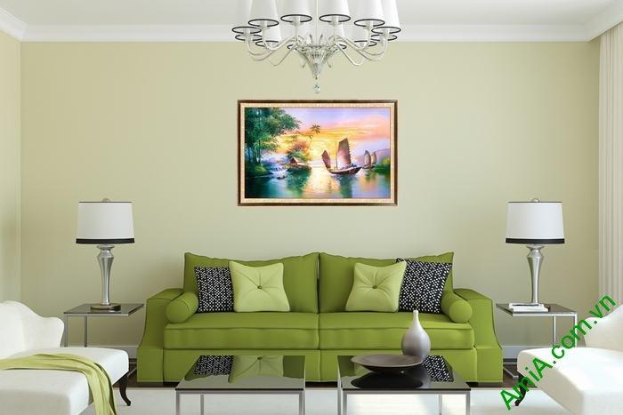 Tranh trang trí một tấm in giả sơn dầu Thuận buồm xuôi gió-02