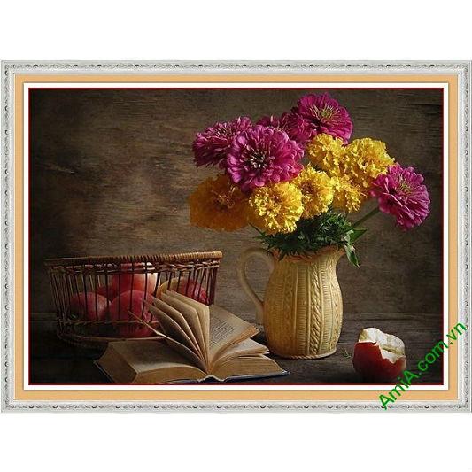 Tranh trang trí nghệ thuật bình hoa cúc vintage Amia 577-00