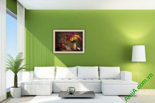 Tranh trang trí nghệ thuật bình hoa cúc vintage Amia 577-01