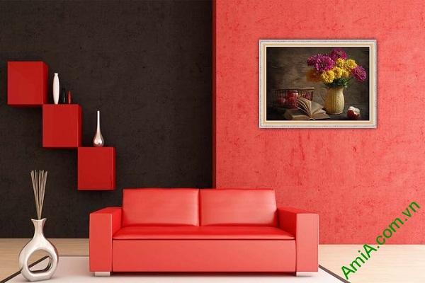 Tranh trang trí nghệ thuật bình hoa cúc vintage Amia 577-02