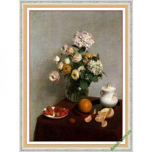 Tranh trang trí nghệ thuật hiện đại bình hoa cẩm tú cầu-00