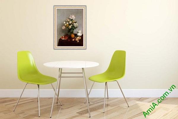 Tranh trang trí nghệ thuật hiện đại bình hoa cẩm tú cầu-02