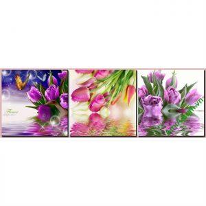 Tranh trang trí nghệ thuật hoa Tulip bộ 3 tấm Amia 466-00