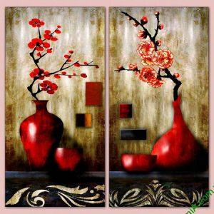 Tranh trang trí nghệ thuật song bình hoa đào Amia 568-00