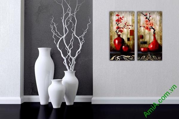 Tranh trang trí nghệ thuật song bình hoa đào Amia 568-01