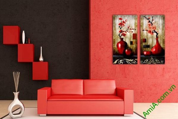 Tranh trang trí nghệ thuật song bình hoa đào Amia 568-02