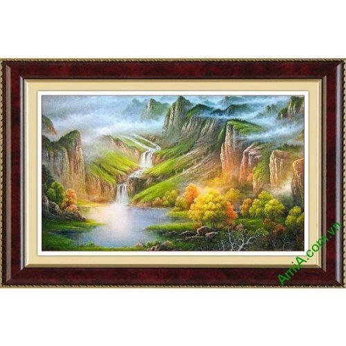 Tranh trang trí nghệ thuật truyền thống sơn thủy hữu tình Amia 475-00
