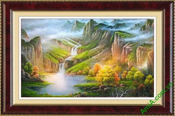 Tranh trang trí nghệ thuật truyền thống sơn thủy hữu tình Amia 475