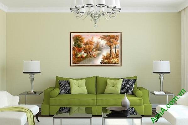 Tranh trang trí phong cảnh đẹp ngôi nhà bên sông Amia 564-01