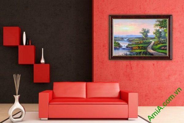 Tranh trang trí phong cảnh đồng quê khổ nhỏ Amia 460-01