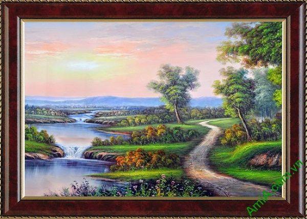 Tranh trang trí phong cảnh đồng quê khổ nhỏ Amia 460