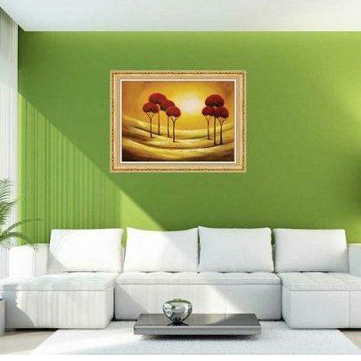 Tranh trang trí phong cảnh in giả sơn dầu hoàng hôn AmiA 587-00